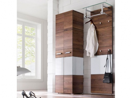 Wittenbreder Massello 500 Kleiderschrank und Garderoben Paneel 720 für Flur und Garderobe Schrank in Nussbaum teilmassiv und Weiss Glas