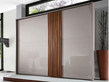 Rauch Steffen Tegio Schwebetürenschrank Front in Farbglas Kleiderschrank Schrank für Schlafzimmer Größe und vertikale Absetzung wählbar