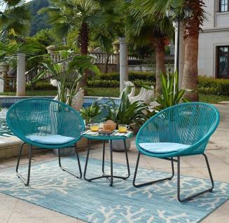 Möbilia Sitzgruppe 5-teiliges Set aus 2 Gartenstühlen mit Sitzkissen türkis und Beistelltisch