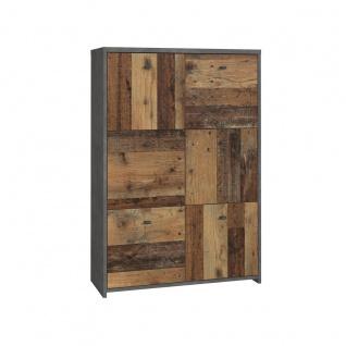 Forte Möbel Best Chest SQNK321 hohe Kommode mit Türen in Holzoptik Old-Wood und Betonoptik Dunkelgrau Vintage
