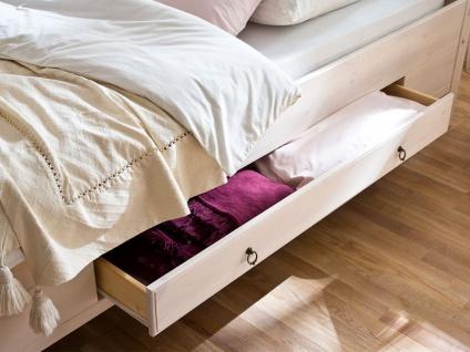 Euro Diffusion Oslo Schlafzimmer 2-teilig Bett mit 2 Schubkästen und Drehtürenschrank 3-türig mit 1 Spiegeltür in weiß mit Absetzungen in lava optional mit Nachtkommoden Sitzbank Kommode und Wandspiegel Liegefläche wählbar - Vorschau 5