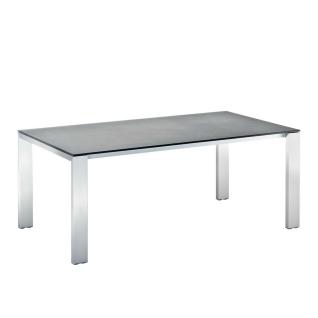 Niehoff Garden Newport ausziehbarer Gartentisch G623 mit HPL-Tischplatte und Vierfußgestell Aluminium Edelstahloptik Tisch mit Butterfly Klappeinlage ca. 100 cm für Ihren Garten Farbe und Größe wählbar