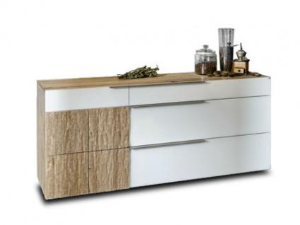 Voglauer V Alpin Sideboard 192 Relaunch AS19R mit Relieftür links und drei Schubladen Kommode für Wohnzimmer oder Esszimmer Akzentfront Colorglas in optiwhite oder anthrazit wählbar