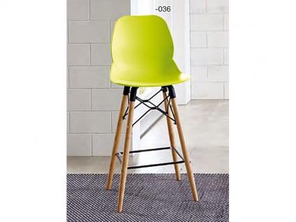 Niehoff Barstuhl TS51-47 mit Kunststoff-Designschale Tresenstuhl mit Gestell aus Eiche Massivholz mit schwarzen Metallstreben Barstuhl für Küche Bar oder Hobbyraum Farbe der Designschale wählbar