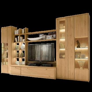 Wöstmann Bari 3000 Wohnwand 0001 oder 0101 in Massivholz Wildeiche Anbauwand für Wohnzimmer Ausführung wählbar