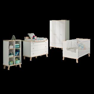 Paidi Ylvie Babyzimmer Kinderbett Kleiderschrank Kommode inkl. Wickelaufsatz wahlweise Regal Wandregal in Kreideweiß Füße und Griffe Birke massiv