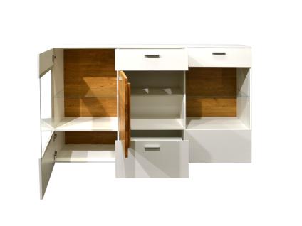Mäusbacher Arizona Kommode 12-2GL-E für Ihr Wohnzimmer oder Esszimmer mit 3 Türen und zwei Schubkästen Korpusdekor wählbar weiß oder anthrazit Absetzung Wildeiche geölt - Vorschau 2