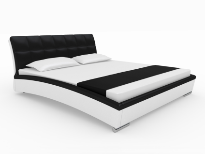 Neue Modular Punto Samoa Polsterbett aus Kunstleder weiß Kopfteil und Absetzungen in schwarz Liegefläche ca. 180x200 cm