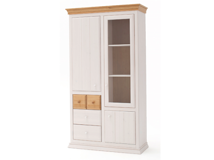 Euro Diffusion Sylt Multi-Vitrine aus Kiefer Massivholz mit 1 Glastür 2 Holztüren 3 Schubkästen und 5 Einlegeböden in weiß mit Absetzungen in weiß antik oder lava