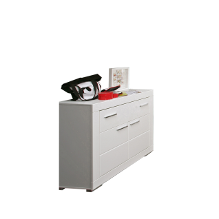 Forte Snow Kommode SNWK22 mit zwei Türen und einem Schubkasten Sideboard in Weiß matt mit Rillenfräsung für Jugenzimmer