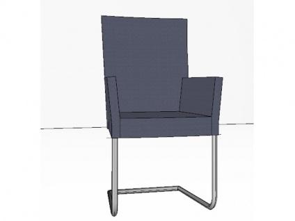 Gwinner Stuhl Lisa Schwingstuhl 137-000 mit Armlehnen Gestell Rundrohr Edelstahl Polsterstuhl für Esszimmer Bezug wählbar