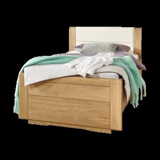 Wiemann Lido Bett mit geschlossenem Fußteil und Polsterkopfteil in Kunstleder Magnolie Liegefläche wählbar optional mit Bettschubkasten