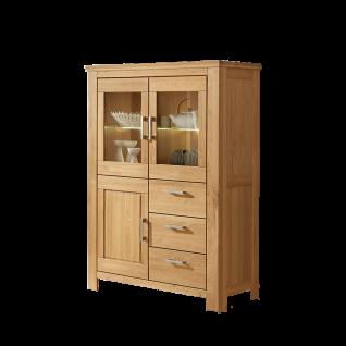 Niehoff Casa-Nova Highboard 0154-47-000 Wildeiche geölt teilmassiv Anrichte mit drei Schubkästen einer Holzür und zwei Glastüren ideal für Ihr Wohnzimmer oder Esszimmer ***am Lager***