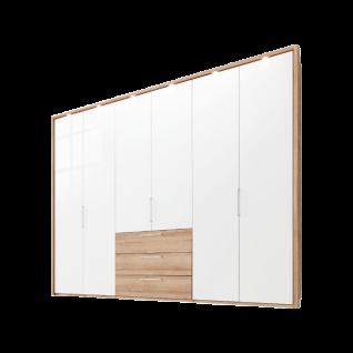 Nolte Möbel Horizont 100 Drehtürenschrank 6-türig mit 3 Schubkästen Ausführung in Sonoma-Eiche-Nachbildung mit Weißglas optional mit Passepartout