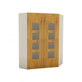 Rudolf Möbel fiftytwo Eckkleiderschrank XXL links oder rechts Innenbeleuchtung 8 Spiegel Quadrate auf den Türen, 4 Schubkästen innen