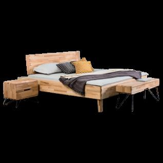 Dico Möbel Massivholzbett Atlanta mit Kopfteil Liegefläche und Farbausführung wählbar optional Nachtkommode und Bank wählbar