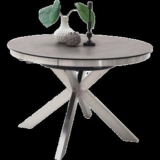 MCA furniture Esstisch Winnipeg Art.Nr. WI12EGAN runde Tischplatte Keramik Anthrazit / Sicherheitsglas Schwarz Gestell Edelstahl gebürstet ausziehbar