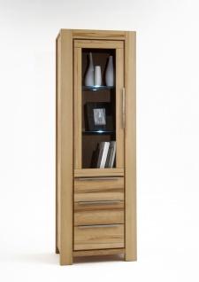 Elfo-Möbel Nena Vitrine 6661 in Kernbuche Massivholz geölt mit 1 Tür mit Glaseinsatz und 3 Schubkästen stilvoller Stauraum für Wohnzimmer oder Esszimmer - Vorschau 2