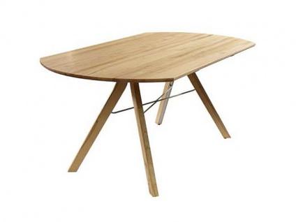 Wöstmann C100 Casa Avanti Esstisch 4311 mit Wing-Ausklapptechnik Tisch für Esszimmer in Massivholz europäischer Wildeiche bianco geölt 180 x 100(147) cm Holzgestell mit Verstrebungen in Edelstahloptik