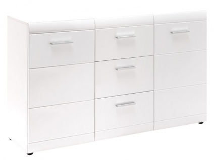 Germania Garderobe Adana Sideboard 3580-84 mit zwei Türen und drei Schubkästen im Dekor Hochglanz weiß Fronten mit Rillenfräsung - Vorschau 2