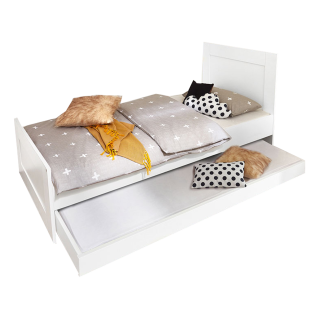 Röhr-Bush cottage Liegenbett mit Liegefläche 90 x 200 cm mit Kopfteil und ausziehbaren Gästebett in Weiß