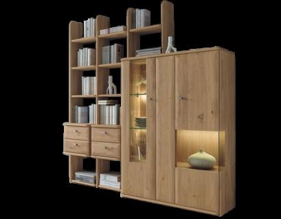 Wöstmann Bari 3000 Regalkombination 0006a mit Vitrine 4014 oder 0106a mit Vitrine 4013 Massivholz Europäische Wildeiche Anbauwand für Wohnzimmer