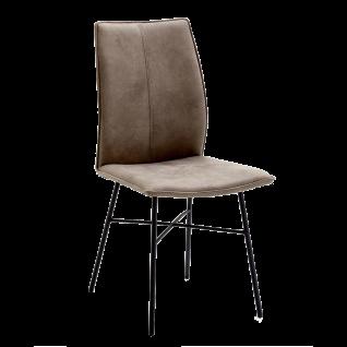 Niehoff Stuhl Capri 7351 Bezug Aberdeen stone und Stativgestell Eisen schwarz Polsterstuhl für Esszimmer und Küche
