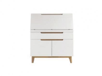 MCA furniture Cervo Sekretär 48648WE5 weiß matt lackiert für Wohnzimmer, Büro oder Lesezimmer mit 2 Türen 1 Schubkasten 1 Klappe Absetzung Asteiche