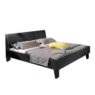 Rauch Steffen Linea Concept Bett Bettrahmen und Bettfüße in Schwarz matt Kopfteil in Lederoptik Schwarz Fuß und Spangen in Schwarz Liegefläche wählbar wahlweise mit passenden Nachttisch