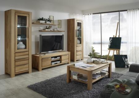 Elfo-Möbel Nena Vitrine 6661 in Kernbuche Massivholz geölt mit 1 Tür mit Glaseinsatz und 3 Schubkästen stilvoller Stauraum für Wohnzimmer oder Esszimmer - Vorschau 3