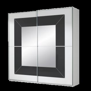 Rauch Orange M Focus Schwebetürenschrank Korpus alpinweiß Front Spiegel mit Absetzung Farbglas basalt mit Schwebetürdämpfer Schrankbreite wählbar