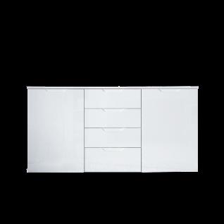 Forte Sienna Kommode SNNK231 mit zwei Türen und vier Schubkästen Korpusfarbe Weiß Front Weiß Hochglanz Dekor Sideboard für Ihr Wohnzimmer Esszimmer