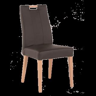 Standard Furniture Polsterstuhl Jana mit Griff in der Rückenlehne Bezug KAIMAN braun und 4-Fuß-Gestell Holzbeine Buche natur