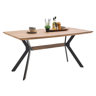 MCA furniture Esstisch Eliot Tischplatte in Wildeiche Nachbildung Bootsform Metallgestell schwarz lackiert