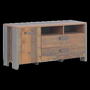 Forte Clif TV Unterschrank mit einer Tür und zwei Schubkästen Korpus Old Wood Vintage kombiniert mit Betonoptik dunkelgrau Front Old Wood Vintage für Ihr Wohnzimmer