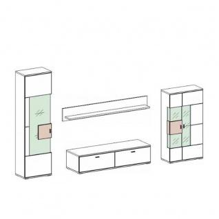 Ideal-Möbel Canberra Wohnkombination 41 für Ihr Wohnzimmer moderne 4-teilige Wohnwand mit zwei Vitrinen Lowboard und Wandboard Kombination in Weiß mit Hochglanzfronten mit Absetzung in Artisan Eiche - Vorschau 3