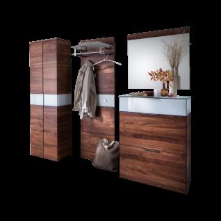 Wittenbreder Novara Garderobenkombination Nr. 01 komplette Garderobe für Ihren Flur und Eingangsbereich 4-teilige Vorschlagskombination im Nussbaum Massivholz und Glas Weiß Griffe und Metallteile in Chrom