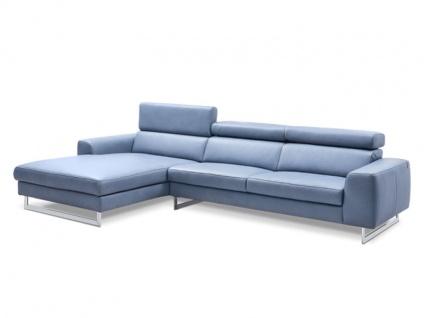 Schillig Willi Ecksofa AleXx Plus 22751 in blauen Longlife-Leder Z69_27 mit Kontrastnaht und glänzenden Metallkufen