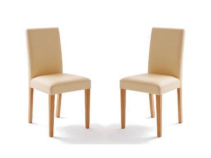 MCA Direkt Stuhl Fix beige Lederlook 2er Set Polsterstuhl für Wohnzimmer und Esszimmer Massivholzgestell Ausführung wählbar