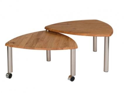 Vierhaus Couchtisch 4317 -WEIX mit zusätzlicher ausdrehbarer Tischplatte aus Massivholz in Wildeiche auf Rollen - Vorschau 3