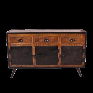 Sit Möbel IRON Sideboard aus Mangoholz mit Altmetall burnt oak-color mit antikschwarz