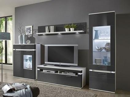 IDEAL-Möbel Boa Wohnkombination 134 Wohnwand vierteilig mit Vitrine Highboard Wandboard und TV-Element Anbauwand für Wohnzimmer Ausführung und Beleuchtung wählbar