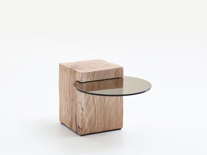 Hartmann Naturstücke Beistelltisch in Riffbuche oder Riffeiche Massivholz gebürstet mit Ablageplatte Glas Tisch für Wohnzimmer Esszimmer oder Garderobe in drei Größen wählbar