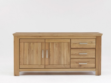 Quadrato Siena Sideboard A-05105 teilmassiv in Wildeiche mit 2 Türen und drei Schubkästen für Wohnzimmer Esszimmer oder Garderobe