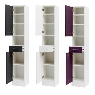 W.Schildmeyer Badmöbel Lorenz Hochschrank H300 mit zwei Türen einem Schubkasten und einem offenen Fach für Badezimmer Korpus Perlweiß Front wählbar - Vorschau 4