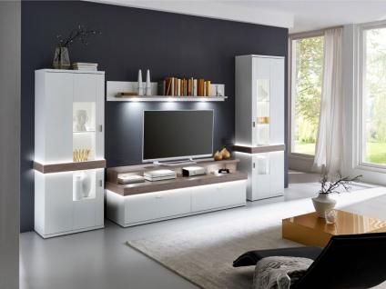 IDEAL-Möbel Wohnwand Albi Kombination 113 mit Vitrinen Wandbord und TV-Element Anbauwand für Wohnzimmer Ausführung wählbar