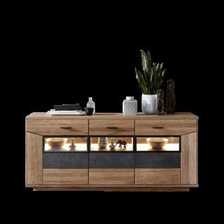 Wohn-Concept Gerano Sideboard 4565HH21 mit drei Schubkästen und drei Türen Kommode in Wildeiche teilmassiv mit Korpus aus Massivholz und Frontabsetzungen in Keramik anthrazit Anrichte mit viel Stauraum für Ihr Wohnzimmer oder Esszimmer