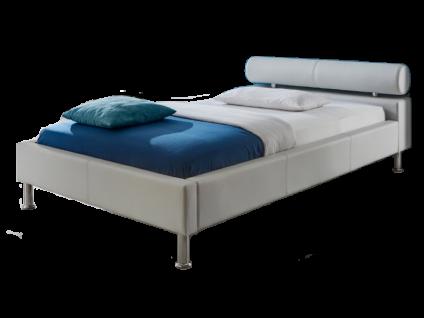 Meise Möbel ANELLO Polsterbett mit Kunstlederbezug in weiß schwarz oder braun Kopfteil mit Kopfteilrolle Metallfüße in Chromoptik Liegefläche wählbar