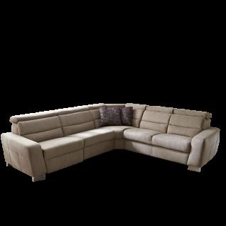 Zehdenick Ecksofa Regis mit motorischer WallAway Funktion für 2 Sitze und integrierten Schubkasten sowie manuelle Kopfpolsterverstellung Rücken am 3-Sitzer unecht Bezug und Fußausführung wählbar