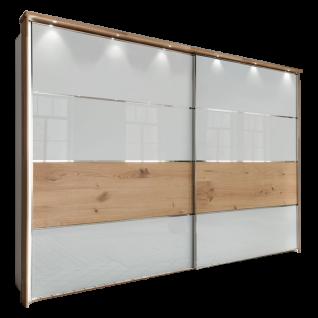 Wiemann Chicago 2-türiger Schwebetürenschrank Griffleisten chrom Front Glas weiß mit Absetzung in Balkeneichefurnier in Feld 3